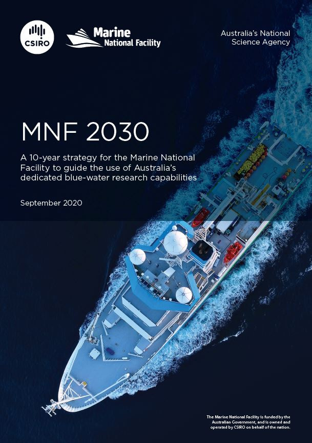 Cover page of a document called 'MNF 2030' showing a photo of a ship from above.